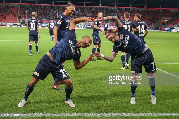 Akaki Gogia of Berlin celebrates the second goal for Union Berlin with his team mate Marcel Hartel of Berlin during the Second Bundesliga match...