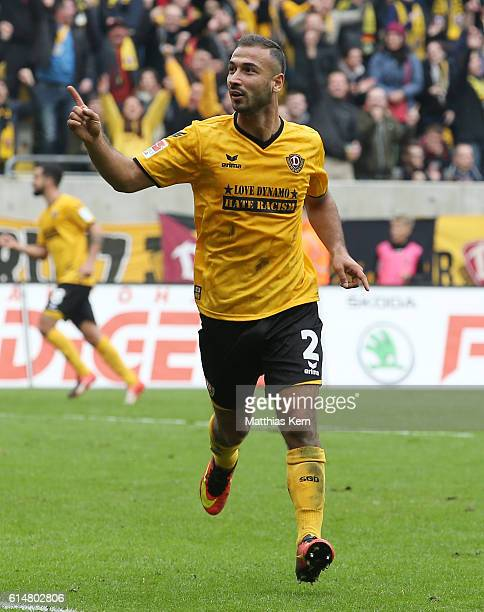 Akaki Gogia of Dresden jubilates after scoring the fourth goal during the Second Bundesliga match between SG Dynamo Dresden and VfB Stuttgart at...