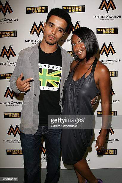 Akala and Angellica Bell pose in the award room at the Music of Black Origin Awards at the O2 Arena Greenwich on September 19 2007 in London England