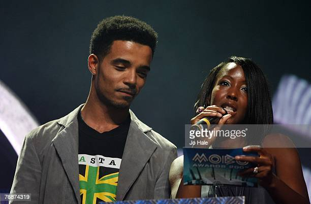 Akala and Angellica Bell present the award for Best DJ performs at the Music of Black Origin Awards at the O2 Arena Greenwich on September 19 2007 in...