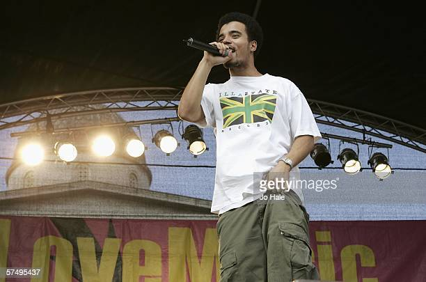 Akala performs on stage as part of the Love Music Hate Racism Rally in Trafalgar Square on April 29 2006 in London England The allday event set up by...