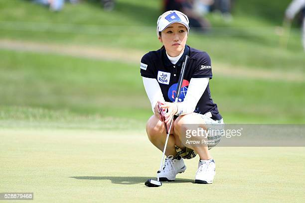 Akane Iijima looks on during the third round of the World Ladies Championship Salonpas Cup at the Ibaraki Golf Club on May 7 2016 in Tsukubamirai...