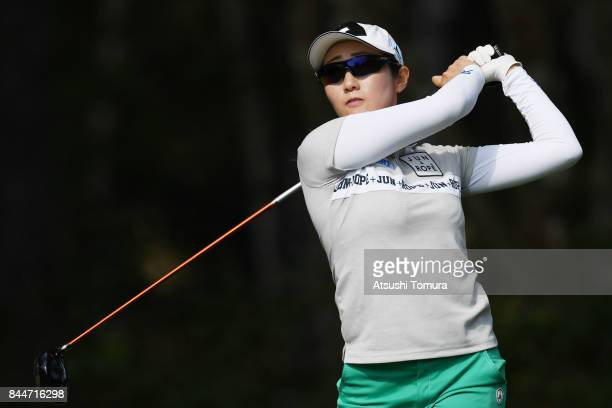 Akane Iijima of Japan hits her tee shot on the 11th hole during the third round of the 50th LPGA Championship Konica Minolta Cup 2017 at the Appi...