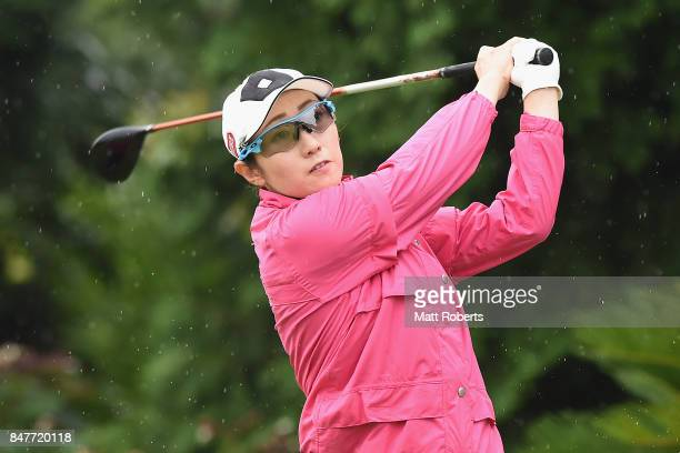 Akane Iijima of Japan hits her tee shot on the 17th hole during the second round of the Munsingwear Ladies Tokai Classic 2017 at the Shin Minami...