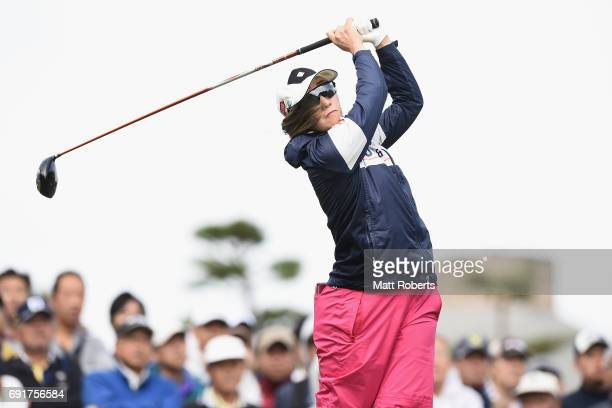 Akane Iijima of Japan hits her tee shot on the 1st hole during the first round of the Yonex Ladies Golf Tournament 2016 at the Yonex Country Club on...