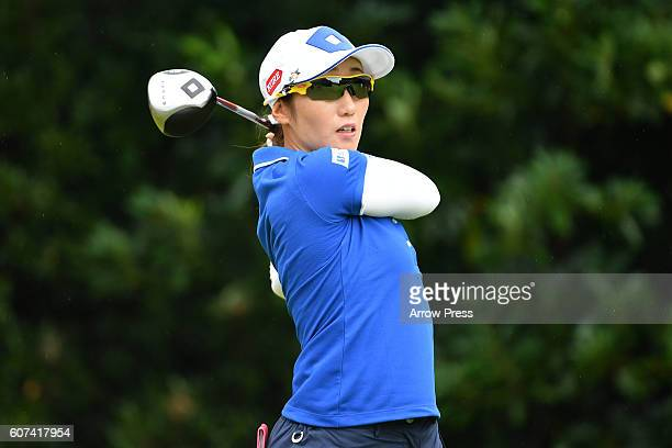 Akane Iijima of Japan hits her tee shot on the 2nd hole during the Final round of the Munsingwear Ladies Tokai Classic 2016 at the Shin Minami Aichi...
