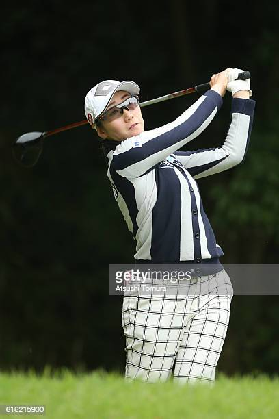 Akane Iijima of Japan hits her tee shot on the 2nd hole during the third round of the Nobuta Group Masters GC Ladies at the Masters Golf Club on...