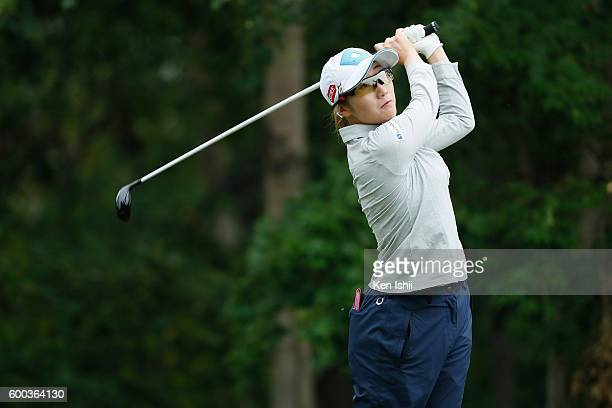 Akane Iijima of Japan hits her tee shot on the 3rd hole during the first round of the 49th LPGA Championship Konica Minolta Cup 2016 at the...