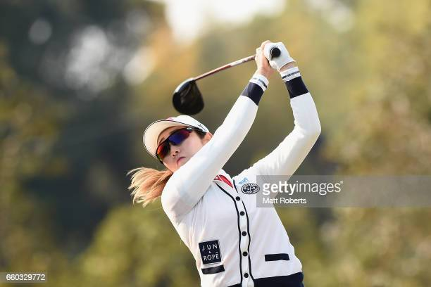 Akane Iijima of Japan hits her tee shot on the first hole during the first round of the YAMAHA Ladies Open Katsuragi at the Katsuragi Golf Club...