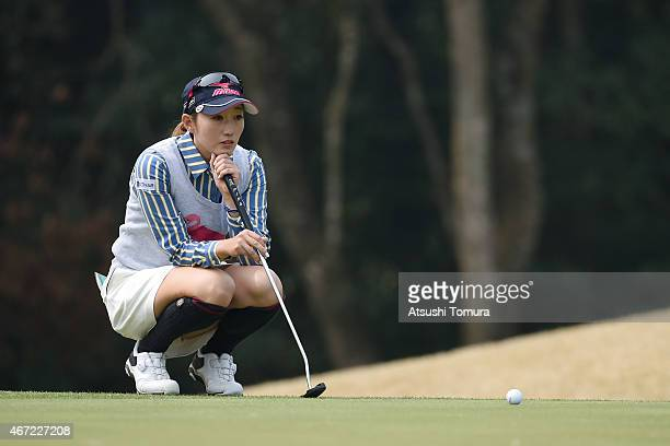Akane Iijima of Japan lines on the 3rd hole during the final round of the TPoint Ladies Golf Tournament at the Wakagi Golf Club on March 22 2015 in...