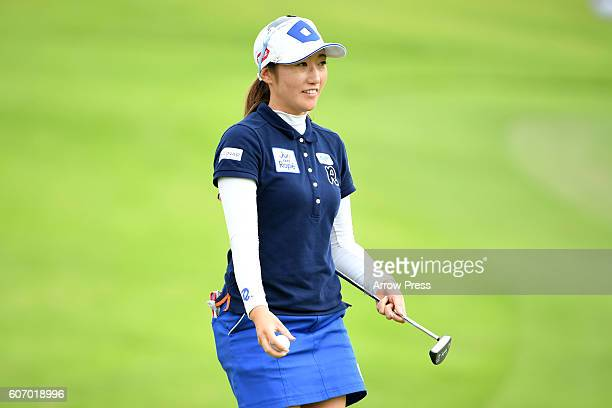 Akane Iijima of Japan looks on during the second round of the Munsingwear Ladies Tokai Classic 2016 at the Shin Minami Aichi Country Club Mihama...