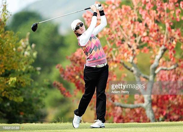 Akane Iijima of Japan of the USA tees off during the second round of the Mizuno Classic at Kintetsu Kashikojima Country Club on November 3 2012 in...