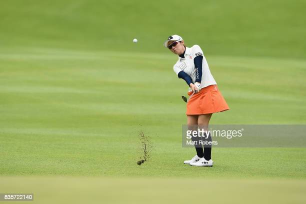 Akane Iijima of Japan plays her approach shot on the 13th hole during the final round of the CAT Ladies Golf Tournament HAKONE JAPAN 2017 at the...