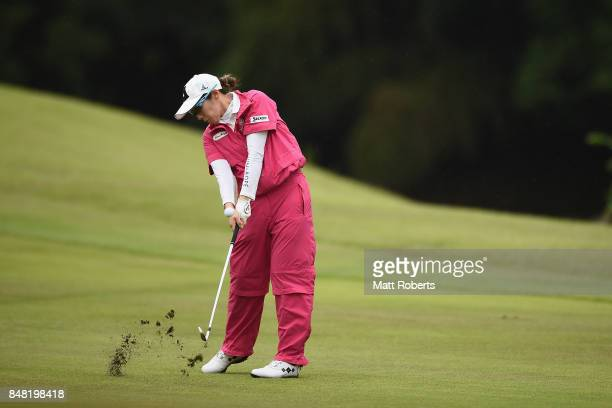 Akane Iijima of Japan plays her approach shot on the 18th hole during the final round of the Munsingwear Ladies Tokai Classic 2017 at the Shin Minami...