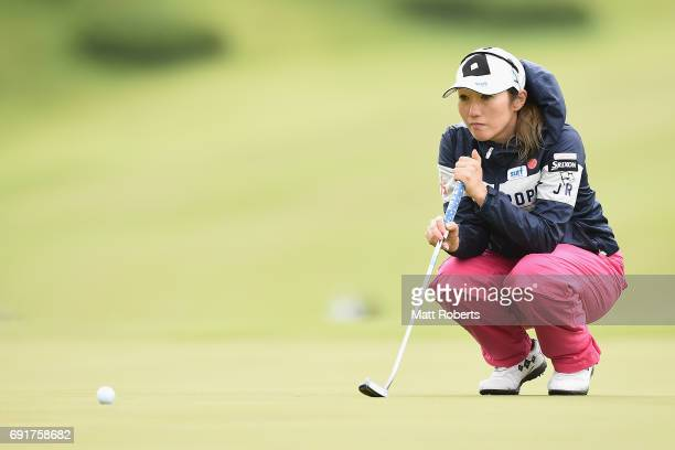 Akane Iijima of Japan prepares to putt on the 18th green during the first round of the Yonex Ladies Golf Tournament 2016 at the Yonex Country Club on...