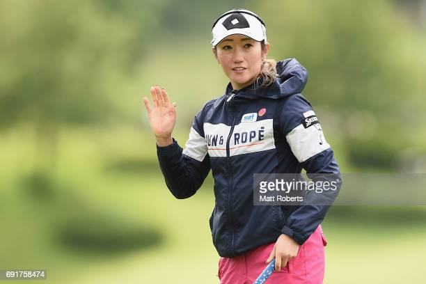 Akane Iijima of Japan reacts on the 18th green during the first round of the Yonex Ladies Golf Tournament 2016 at the Yonex Country Club on June 3...