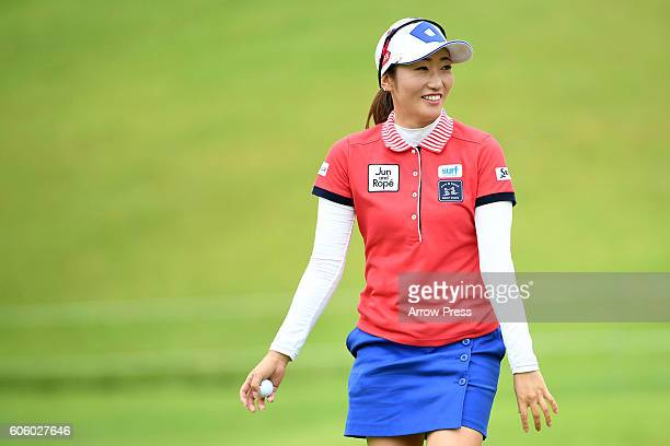 Akane Iijima of Japan smails during the first round of the Munsingwear Ladies Tokai Classic 2016 at the Shin Minami Aichi Country Club Mihama Course...