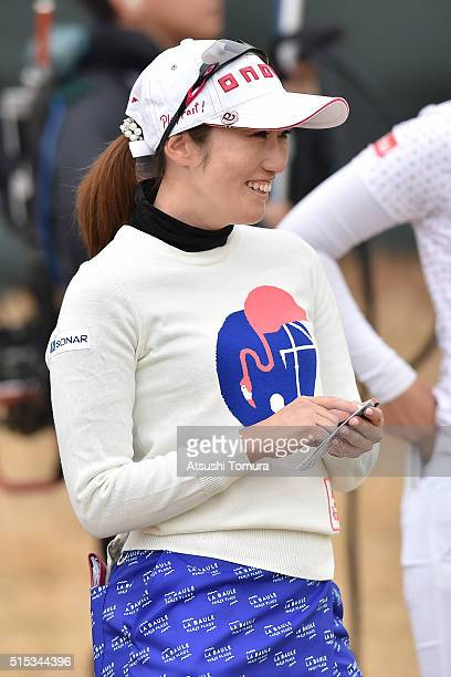 Akane Iijima of Japan smiles during the final round of the Yokohama Tire PRGR Ladies Cup at the Tosa Country Club on March 13 2016 in Konan Japan