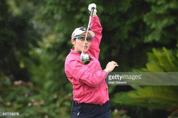 Akane Iijima of Japan watches her tee shot on the 17th hole during the second round of the Munsingwear Ladies Tokai Classic 2017 at the Shin Minami...