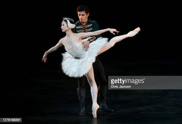 """Akane Takada and Federico Bonelli perform Swan Lake , Act II Pas de deux during the """"The Royal Ballet: Back on Stage"""" photocall at The Royal Opera..."""