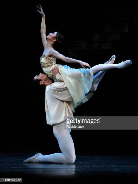 Akane Takada as Juliet and Ryoichi Hirano as Romeo in The Royal Ballet's production of Kenneth MacMillan's Romeo and Juliet at The Royal Opera House...