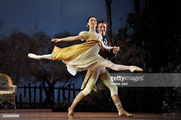 Akane Takada as Olga and Vadim Muntagirov as Lensky in the Royal Ballet's production of John Cranko's Onegin at the Royal Opera House Covent Garden...