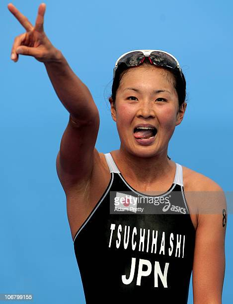 Akane Tsuchihashi of Japan celebrates after winning the Silver medal in the Women's Individual Triathlon at the Triathlon Venue during day one of the...