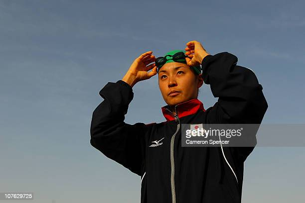 Akane Tsuchihashi of Japan prepares for the Women's Triathlon event at North Al Hail during day nine of the 2nd Asian Beach Games Muscat 2010 on...