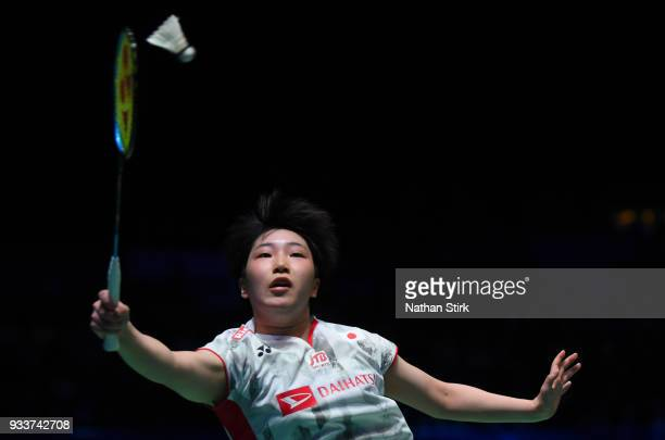 Akane Yamaguchi competes against Tai Tzu Ying of Taiwan of Japan on day five of the Yonex All England Open Badminton Championships at Arena...