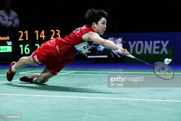 Akane Yamaguchi of Japan competes in the Women's Single final match against Ratchanok Intanon of Thailand during day six of the Yonex German Open on...