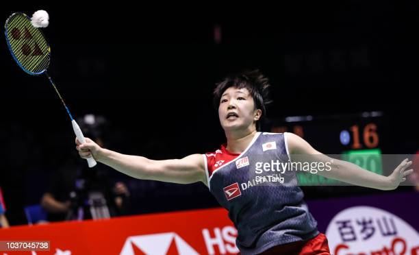 Shiho Tanaka and Koharu Yonemoto of Japan compete in the Women's Doubles quarter finals match against Greysia Polii and Apriyani Rahayu of Indonesia...