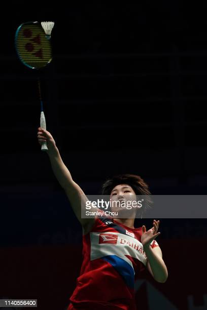 Akane Yamaguchi of Japan in action on day four of the Badminton Malaysia Open at Axiata Arena on April 05 2019 in Kuala Lumpur Malaysia