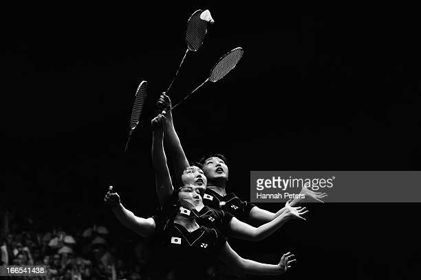Akane Yamaguchi of Japan plays a shot during the New Zealand Badminton Open Women's Singles final match between Akane Yamaguchi of Japan and Deng...