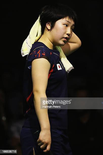 Akane Yamaguchi of Japan takes a break during the New Zealand Badminton Open Women's Singles final match between Akane Yamaguchi of Japan and Deng...