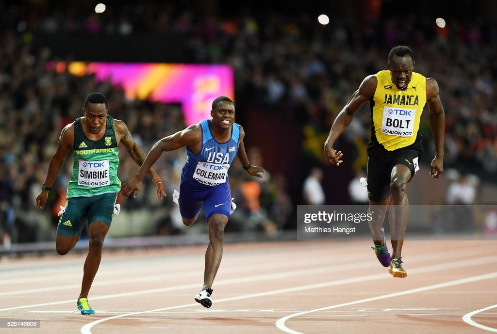 Akani Simbine of South Africa, Christian Coleman of the United States and Usain Bolt of Jamaica cross the finish line in the men's 100m final during day two of the 16th IAAF World Athletics Championships London 2017 at The London Stadium on August 5, 2017 in London, United Kingdom.