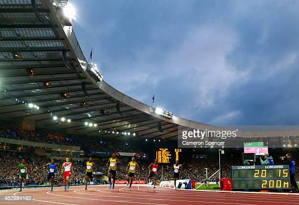 Akani Simbine of South Africa Mosito Lehata of Lesotho Danny Talbot of England Bronze medalist Jason Livermore of Jamaica gold medalist Rasheed Dwyer...