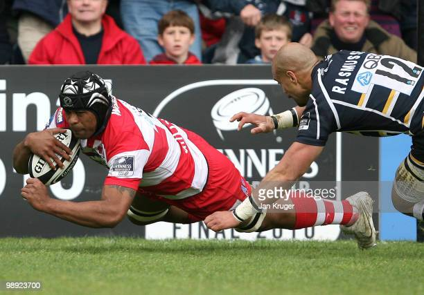Akapusi Qera of Gloucester dives over for his try during the Guinness Premiership match between Worcester Warriors and Gloucester at Sixways Stadium...