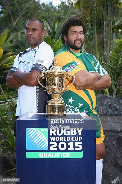 Akapusi Qera the Fiji captain and Stan Wright captain of the Cook Islands pose ahead of the Rugby World Cup 2015 Qualifier at the Garden of the...