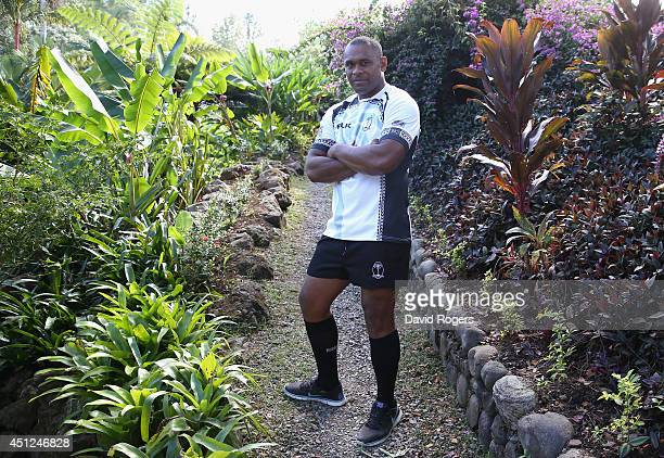 Akapusi Qera the Fiji captain poses ahead of the Rugby World Cup 2015 Qualifier against the Cook Islands at the Garden of the Sleeping Giants on June...