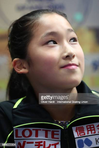 Akari Matsuoka of Japan look on at the kiss and cry in the Junior Ladies Free Skating Program during day four of the ISU Junior Grand Prix of Figure...
