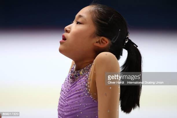 Akari Matsuoka of Japan looks on prior to the Junior Ladies Free Skating Program during day four of the ISU Junior Grand Prix of Figure Skating at...