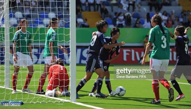 Akari Shiraki of Japan celebrates her 2nd goal with Ayaka Inoue during the FIFA U17 Women's World Cup 2012 group C match between Japan and Mexico at...