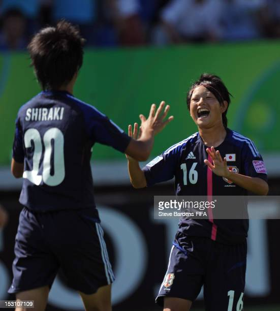 Akari Shiraki of Japan celebrates her goal with Ayaka Inoue during the FIFA U17 Women's World Cup 2012 group C match between Japan and Mexico at...