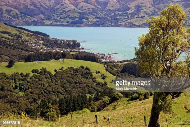 Akaroa town and harbour from Summit Road