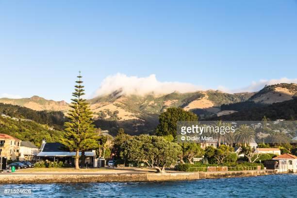 Akaroa village in the Banks peninsula in New Zealand south island