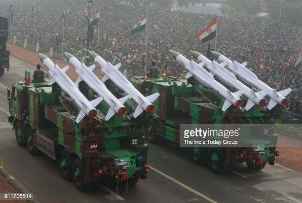 Akash missile launchers roll through Rajpath the ceremonial boulevard during Republic Day parade in New Delhi