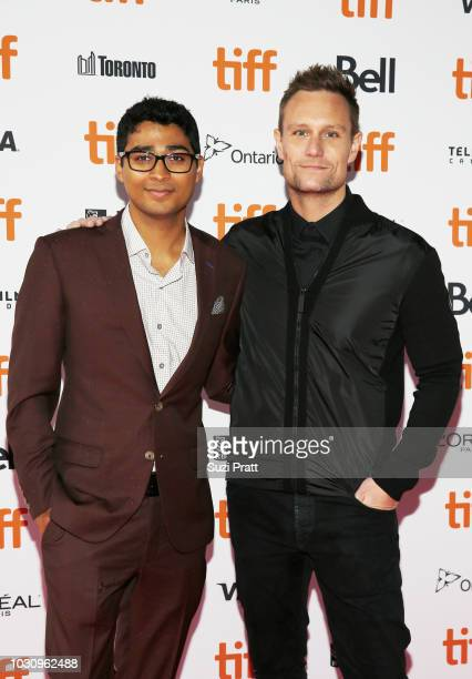 Akash Sherman and Patrick J Adams attend the 'Clara' premiere during 2018 Toronto International Film Festival at Ryerson Theatre on September 10 2018...