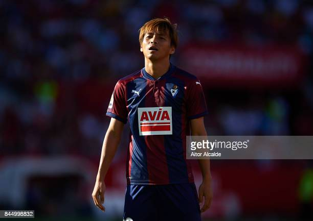 Akashi Inui of SD Eibar looks on during the La Liga match between Sevilla and Eibar at Estadio Ramon Sanchez Pizjuan on September 9 2017 in Seville
