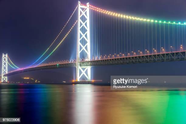 Akashi Kaikyo bridge illuminated in rainbow colours, Hyogo, Japan.