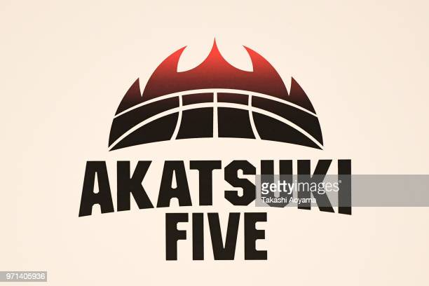 Akatsuki Five logo is seen during the Japan men's national basketball team announcement at Shinagawa Intercity Hall on June 11 2018 in Tokyo Japan